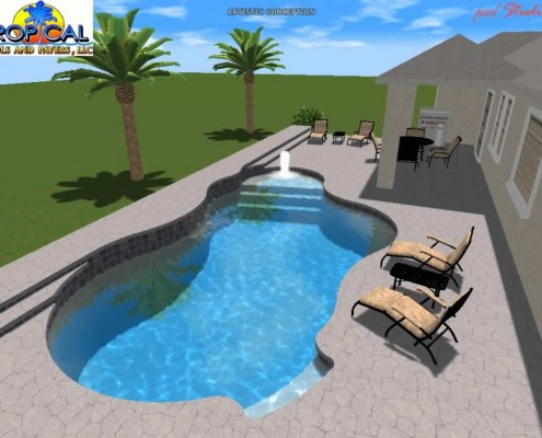 Professional 3D Pool Design – Tropical Pools And Pavers