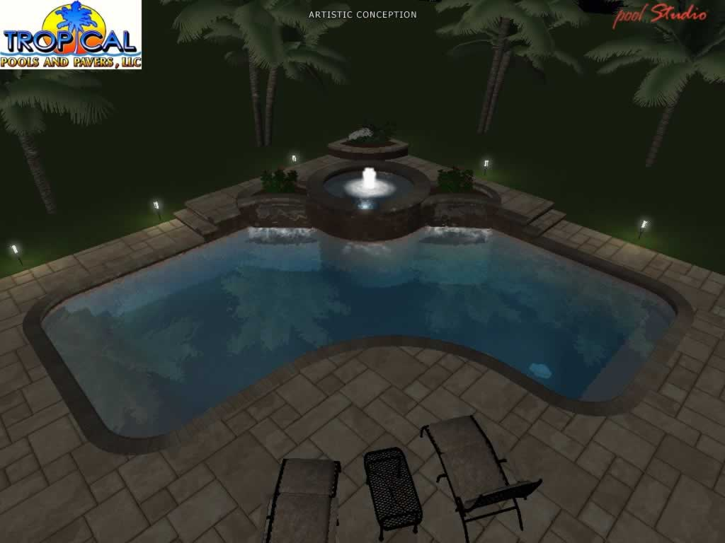 Professional 3d Pool Design Tropical Pools And Pavers