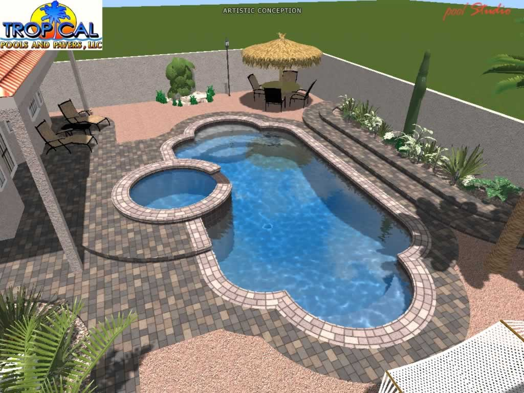 Professional 3d pool design tropical pools and pavers for Pool design kg