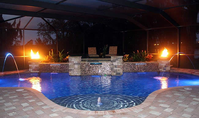 Tropical pools and pavers pool builders in florida for Pool design tampa