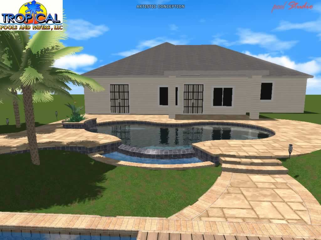 Professional 3d pool design tropical pools and pavers for Pool design mistakes