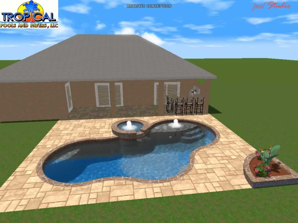 Professional 3d pool design tropical pools and pavers for Pool design software free download